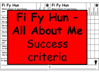 Success criteria for writing All About me in Welsh