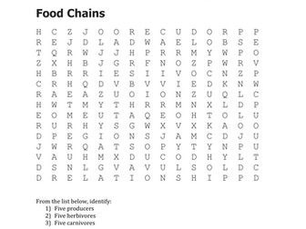 Food Chain vocabulary match