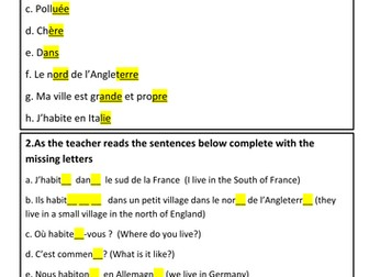 KS3 French - Pool of reading and oral resources on talking about 'The place I live in'