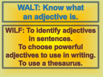 Powerpoint that teaches adjectives and then activity to follow