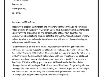 National Reading Test (NRT) Practice Paper - Hogwarts Open Evening - Harry Potter