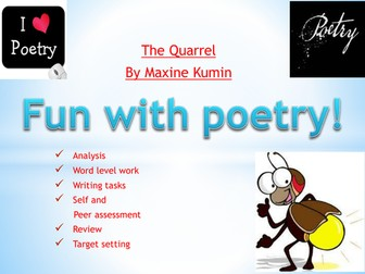 Poetry: 'The Quarrel' by Maxine Kumin. Ideal for National Poetry Day!