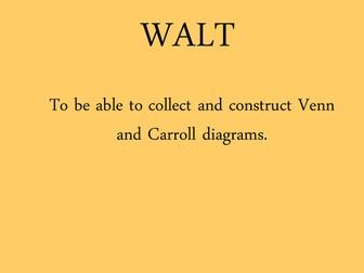 Venn and Carroll diagrams looking at  multiples