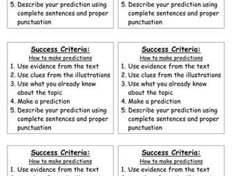 Success Criteria - making predictions