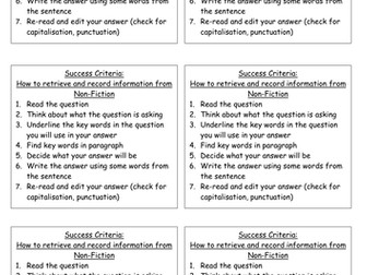Success criteria - retrieve and record information