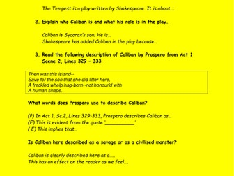How does Shakespeare present Caliban through The Tempest Assessment