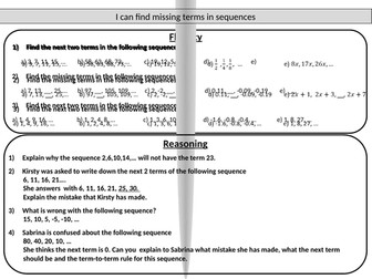 Sequences - mastery worksheet
