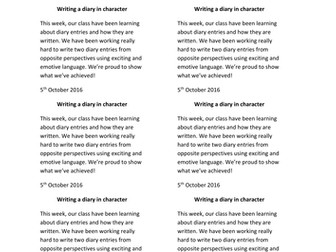 Year 3: Diary Writing (Entire Week of Planning with resources)