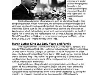Martin Luther King Jr - Comprehension