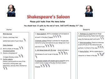 Takeaway homework menu for Shakespeare