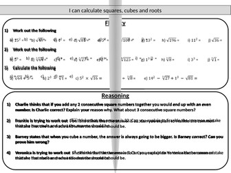 Squares, cubes and roots - mastery worksheet