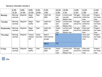 Nursery timetable, Autumn term