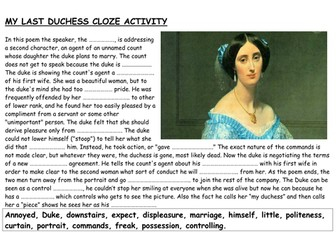 My Last Duchess: Cloze activity, comprehension questions, writing frame to compare to Ozymandias