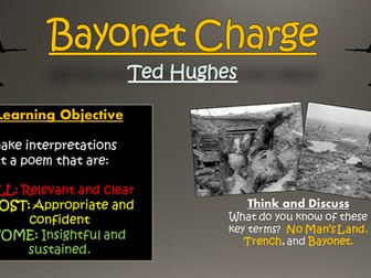 Bayonet Charge - Ted Hughes - War/Conflict Poetry