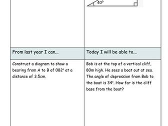 Angles of Elevation and Depression (Trigonometry)