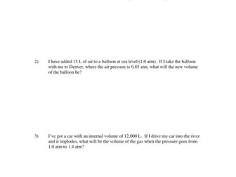 GAS LAWS WORKSHEETS WITH ANSWERS by kunletosin246 - Teaching ...