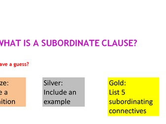 Subordinate clauses: lesson and worksheets