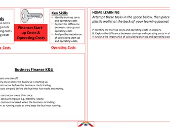 BTEC Business Finance Startup Costs and Operating Costs