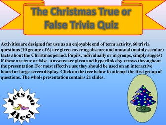 True of False, Christmas Trivia Challenge