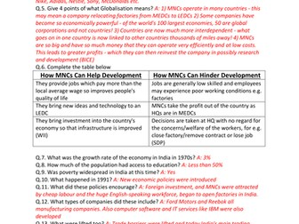 GCSE CCEA Geography Unit 2:B: Contrasts in World Development COMPLETE Revision