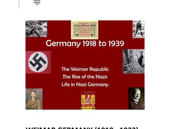 GCSE HISTORY REVISION NOTES:  WEIMAR GERMANY (1918 - 1933)   AND  HITLER'S GERMANY 1929-1939