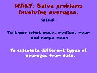 Averages powerpoint Year 6