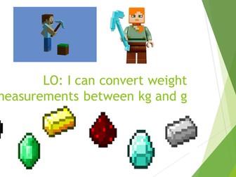 Maths Mastery - Weight - MINECRAFT MATHS - 3 LESSON PLAN & TEACH