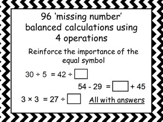 96 missing number box balanced calculations
