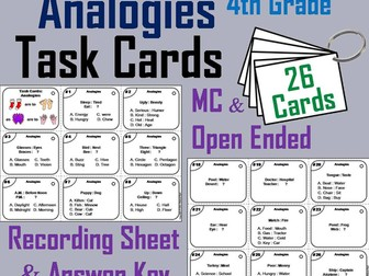 Analogies Task Cards for 4th Grade