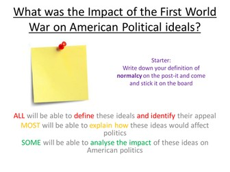 Edexcel Paper 1, Option F: LESSON 5 The impact of WW1 on US politics - isolationism and normalcy