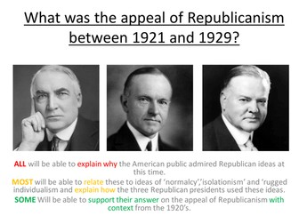 Edexcel Paper 1, Option F - LESSON 6 What was the Appeal of Republicanism between 1921 and 1929?