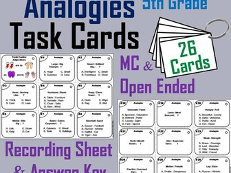 Analogies Task Cards for 5th Grade