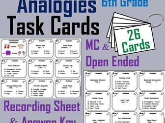 Analogies Task Cards for 6th Grade