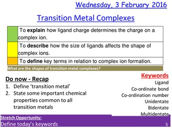 Transition Metal Complexes