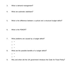 Fiscal Policy: Expenditure worksheet