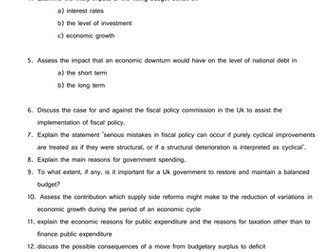Question Bank - fiscal policy