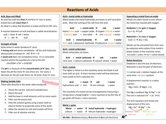 Reactions of Acids & Alkalis Revision Sheet (new AQA)