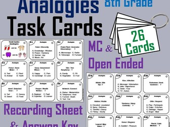 Analogies Task Cards for 8th Grade