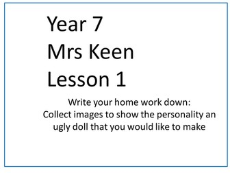 Year 7 Life Without Levels SOW Ugly Dolls Textiles Technology KS3