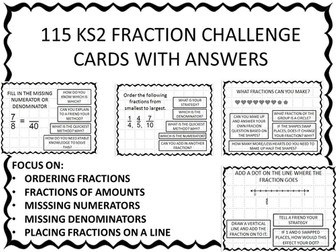 mastery fraction pack KS2 115 challenges