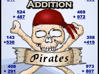 Three Digit Addition - Pirates Themed Worksheets (Vertical)