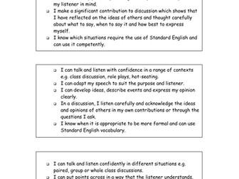 Drama Speaking and Listening Criteria - Student Activity