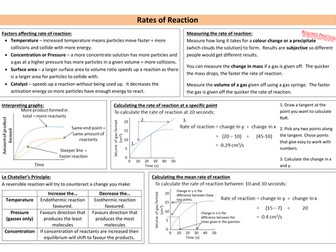 Rates of Reaction Revision Sheet (new AQA)