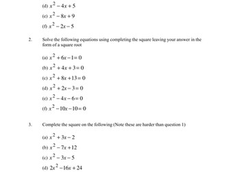 National 5 / Higher Mathematics Completing the Square Notes and Homework