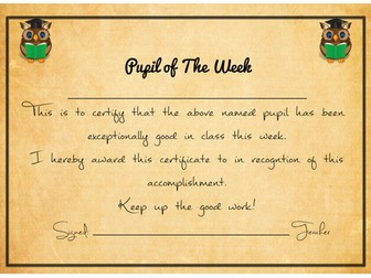 Transition : Pupil of the Week Certificate