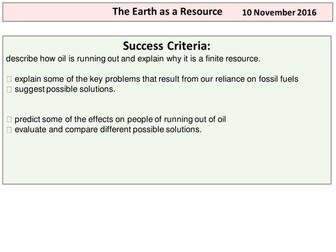 The Earth as A Resource