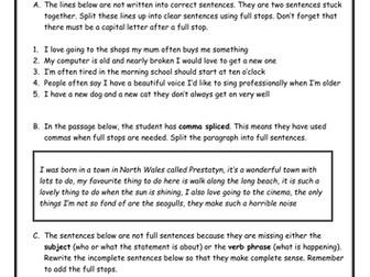 Full Stops Worksheet - When to use, Add them in, Comma Splicing, Incomplete sentences.