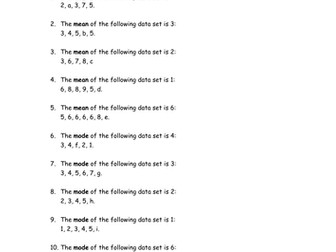 Find the missing letters: Mean, Mode, Arithmetic and Geometric Sequences