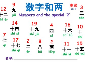 Numbers in Chinese (1-20) with the special '2' (Higher level)