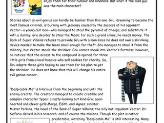 National Reading Test Practice Paper - Despicable Me Review